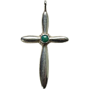 Vintage Green Turquoise Religious Cross Necklace Pendant Sterling Silver Southwestern