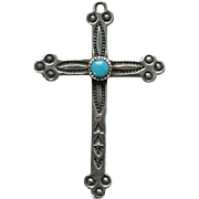 Vintage Bell Trading Post Necklace Pendant Turquoise Sterling Silver Religious Cross Stamp Decorated Signed