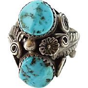 Old Navajo Double Morenci Turquoise Ring Intricate Appliques Size 7.25 Sterling Silver C1970s