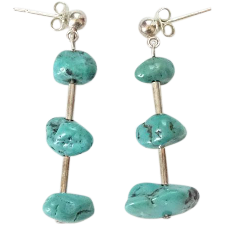 Vintage Southwestern Turquoise Nugget Dangle Pierced Earrings Sterling Silver