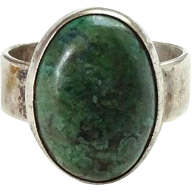 Vintage Southwestern Chrysocolla Gemstone and Sterling Silver Ring Size 8.25