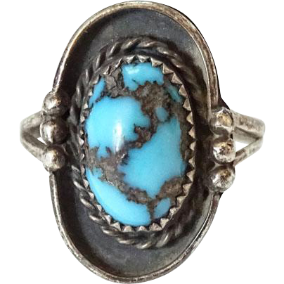 Old Native American Morenci Turquoise and Sterling Silver Ring Size 5.75