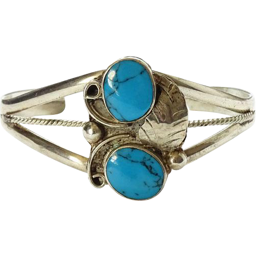 Vintage Mexico Double Stone Turquoise Cuff Bracelet Small Size Sterling Silver Southwestern