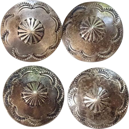 Old Native American Stamp Decorated Concho Button Group of Four Sterling Silver