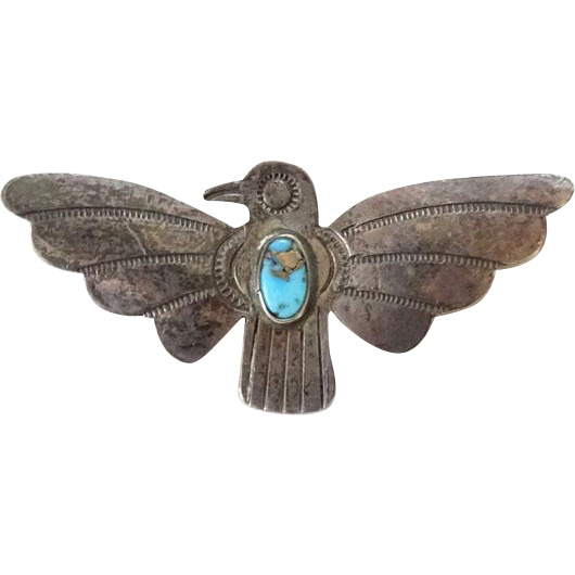 Old Native American Morenci Turquoise Thunderbird Pin Sterling Silver