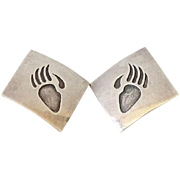 Southwestern Sterling Silver Bear Paw Pierced Earrings Square Shape Hallmarked