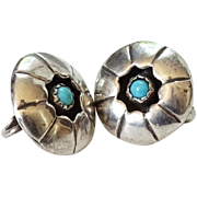 Southwestern Vintage Turquoise Shadowbox Concho Clip Earrings Hallmarked Sterling