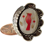 Old Zuni Mother of Pearl Coral Inlay Cardinal Bird Ring Size 8.25 Sterling Silver Native American