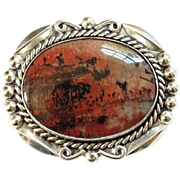 Bell Trading Post Navajo Petrified Wood Brooch Pin Hallmarked Sterling