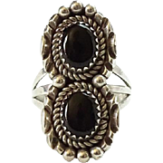 Vintage Navajo Black Onyx Double Gemstone and Sterling Silver Ring Size 7.5