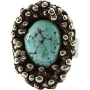 Vintage Southwestern Sterling Turquoise Ring Size 6 Piles Hand Dropped Raindrops Handmade Hallmarked LMP