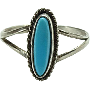 Vintage Native American Turquoise Ring Size 8.25 Sterling Needlepoint Shape