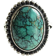 Southwestern Spider Web Matrix Turquoise Ring Size 7.75 Sterling Silver Hallmarked HA