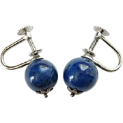 Vintage Sterling Silver and Blue Lapis Lazuli Screw Back Earrings Signed