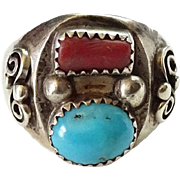 Vintage Navajo Silver Turquoise Coral Ring Size 10 Hallmarked TG Sterling