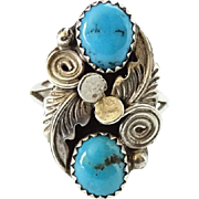 Vintage Navajo Turquoise Ring C1970s Size 8 Signed BP Sterling Beautiful Color