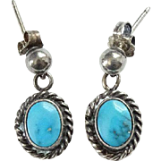 Vintage Native American Turquoise Dangle Pierced Post Earrings Sterling Silver Beautiful Color