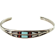 Vintage Zuni NM JRB John Rosalie Bowannie Cuff Bracelet Turquoise Coral Onyx MOP Signed