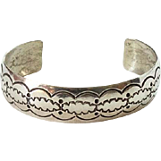 Vintage Southwestern Silver Cuff Bracelet Stamp Decorated Hallmarked Sterling