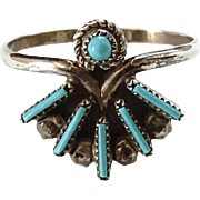 Vintage Zuni Turquoise Needlepoint Ring Size 7 Signed RB Sterling Native American