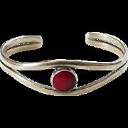 Vintage Southwestern Red Jasper Sterling Silver Cuff Bracelet