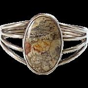 Vintage Native American Landscape Agate Gemstone Cuff Bracelet Sterling Silver