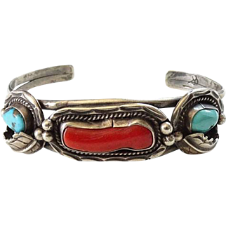Navajo Red Coral and Turquoise Sterling Cuff Bracelet Signed BP Native American