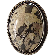 Southwestern Agate Gemstone Ring Size 5.75 Sterling Silver