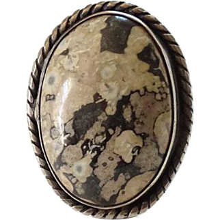 Southwestern Agate Gemstone Ring Size 5.75 Sterling Silver