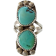 Navajo Double Turquoise and Sterling Ring Size 8.25 Handmade Native American