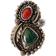 Native American Navajo Coral Malachite Ring Size 7 Sterling Silver