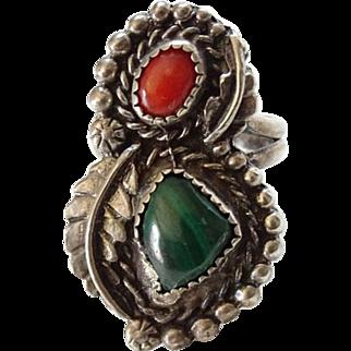 Native American Navajo Coral Malachite Ring Size 7 Sterling Silver