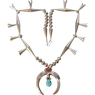 Native American Turquoise and Red Coral Squash Blossom Necklace Sterling Navajo Vintage