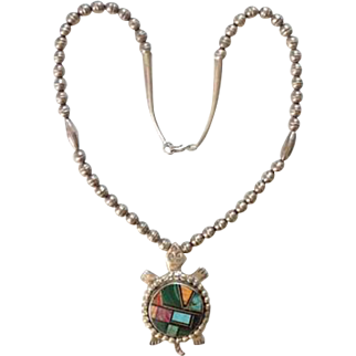 LM Navajo Channel Inlay Turtle Pendant Necklace Sterling Silver Turquoise Malachite Coral Spiny Oyster