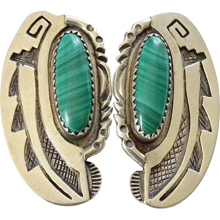 Native American SY Sterling Silver Overlay Sally Yazzie Malachite Pierced Earrings