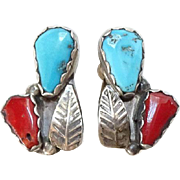 Vintage Navajo Coral and Turquoise Clip Earrings with Feather Sterling Silver Native American