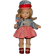 1943 Patriotic Ginny Toddles Doll Miss America with Flag Vogue Composition