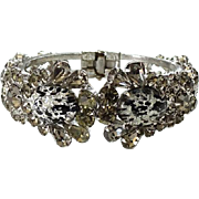 1960 Juliana Rhinestone Clamper Bracelet Oval With Black Leopard Spots Hard To Find