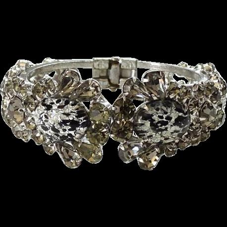 1960 Juliana Rhinestone Clamper Bracelet Oval With Black Leopard Spots Hard To Find