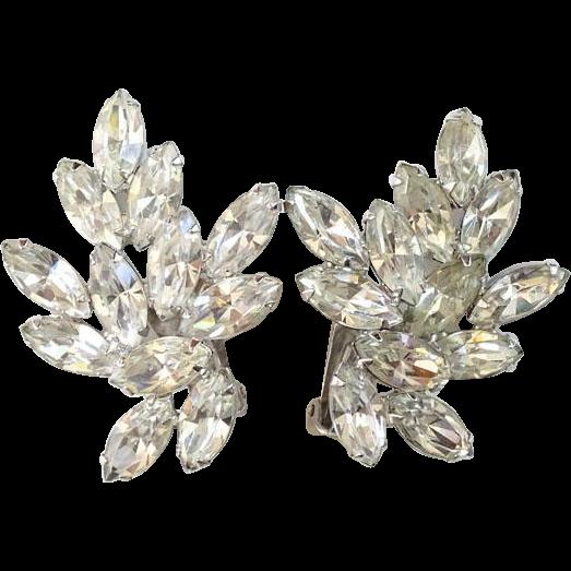 Vintage 1950s Signed Joseph Wiesner Large Clear Ice Rhinestone Clip Earrings