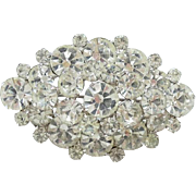 1950-60 Clear Ice Rhinestone Pin Brooch Tiered Sparkly Silvertone