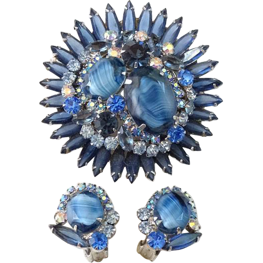 Juliana Chalk White and Blue Stone Rhinestone Starburst Brooch Earrings Set 1964