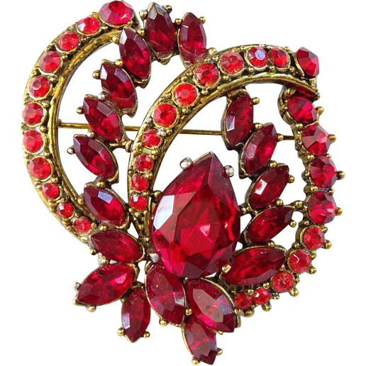Pretty Ruby Red Rhinestone Brooch Pin Vintage 1950-1960 Goldtone Setting