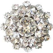 Clear Ice Rhinestone Vintage Snowflake Brooch Pin Square Table Cut Stones Tiered Silvertone