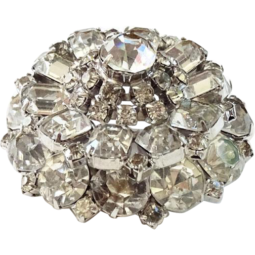 Vintage Clear Ice Rhinestone Pin Brooch C1950-60s Tiered Dome Shape Elegant