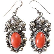 Vintage Coral and Sterling Silver Pierced Earrings Southwestern Style