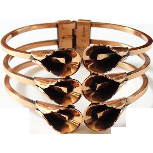 Vintage Renoir Solid Copper Floral Clamper Bracelet Signed