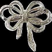 Vintage Kenneth J Lane KJL for Avon Clear Rhinestone Ribbon Bow Pin Brooch Signed
