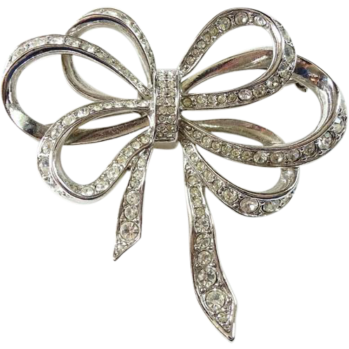 Vintage Kenneth J Lane KJL for Avon Clear Rhinestone Ribbon Bow Pin Brooch Signed