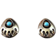 Southwestern Bear Paw Turquoise Pierced Post Earrings Hallmarked Sterling
